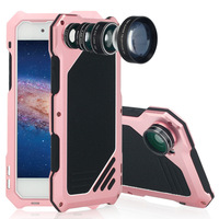 3 en 1 Antichoc En Métal En Aluminium + Camera Lens Kit Pour Apple iPhone 8 7 6 6 S Plus 5 5S SE Anti-chute Hybride Armure couverture
