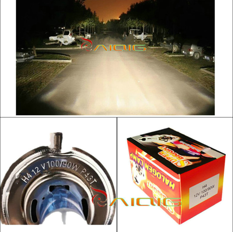 H4 12 V 100 W / 90 W 4300 K Kuning P43t Fog Halogen Bulb light - Lampu mobil - Foto 5