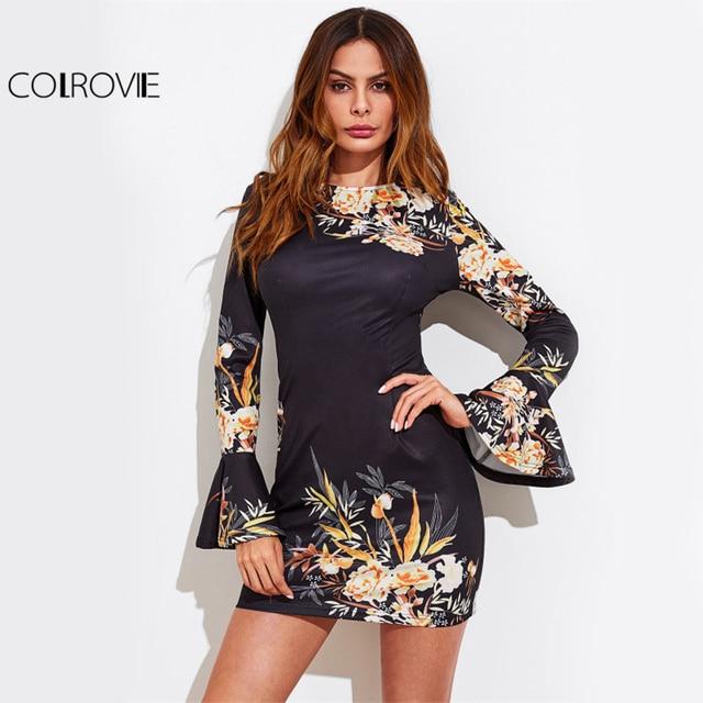 COLROVIE Elegant Bell Cuff Floral Mini Dress 2017 Women Botanical Print Sexy Bodycon Dress Fall Fashion Black Tunic Party Dress