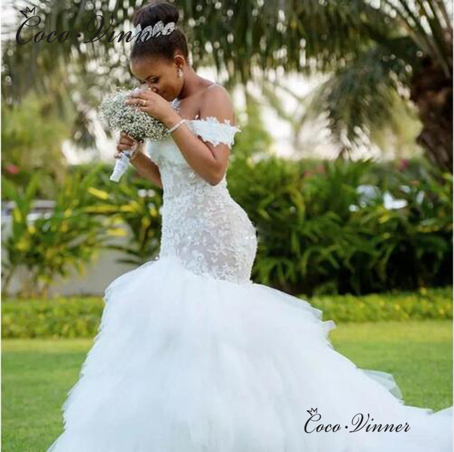 Tassel Train African Mermaid Wedding Dresses 2020 Cap Sleeve Lace Up Back Embroidery Trumpet Lace Wedding Dress W0425