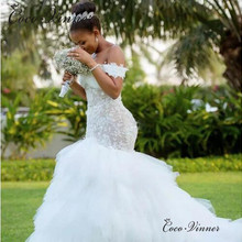 Tassel Train African Mermaid Wedding Dresses 2019 Cap Sleeve lace up Back Embroidery Trumpet Lace Wedding Dress W0425