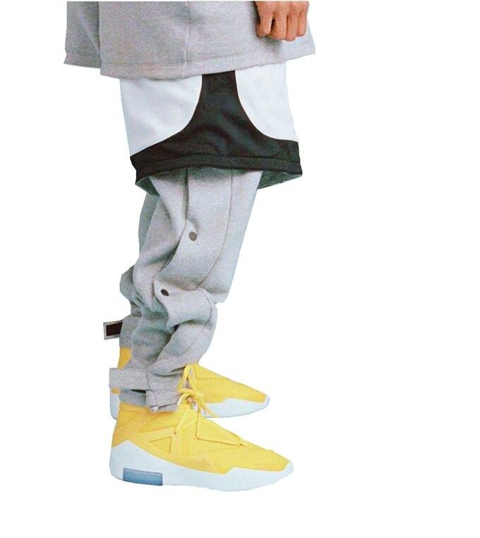 19FW Dernières TOP High Street Hip-Hop Rap La Peur De Dieu style Lâche bouton Magique collant PANTALON Loisirs Pantalons De Survêtement En Coton Solide couleur