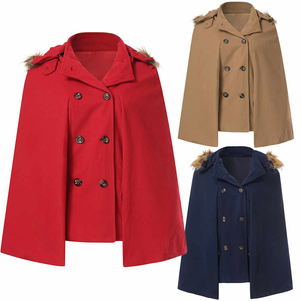 1a83e7d0d5c Women Double Breasted Front Pocket Hooded Cape Winter Red Loose Fur Collar  Street Cloak Woolen Coat