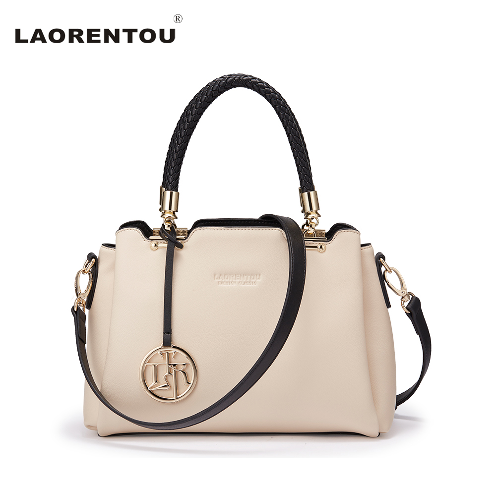 Laorentou Luxury Top Handle Cowhide Leather Women Handbag Fashion Casual Tote Shoulder Crossbody Bag Leather Female Bag N55 luxury genuine leather bag fashion brand designer women handbag cowhide leather shoulder composite bag casual totes