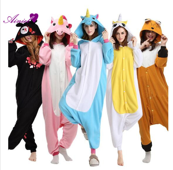 Flannel Onesie Unicorn Adult Animal Pyjamas font b women b font Animal pajamas one piece Sleepwear