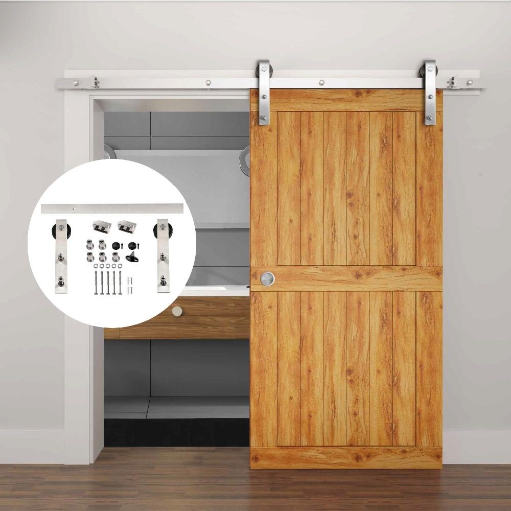 4.9FT/6FT/6.6FT Stainless Steel Wood Interior Sliding Barn Door Hardware