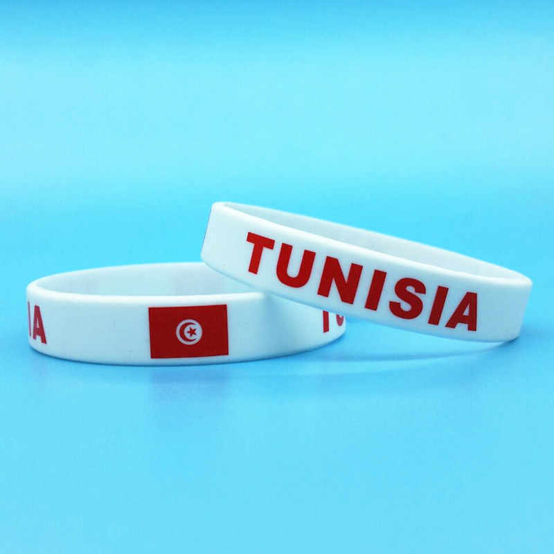 2pcs Tunisia Flag ID Bracelet Men Hologram Silicone Wristband Sport Wrist Band Bangle Souvenir Gifts Accessories Outdoor