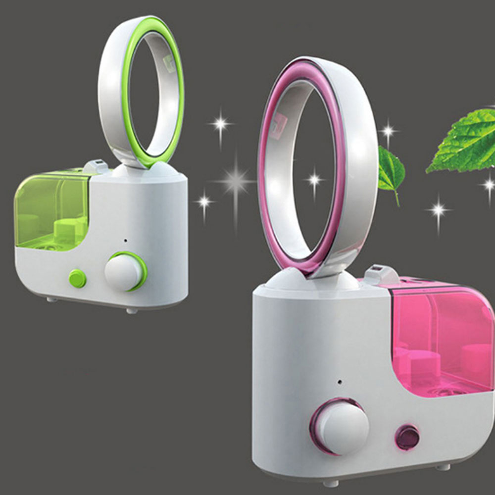 1L Large Capacity 2 In 1 Function Electric Air Humidifier Desktop Size Bladeless Fan With Stylish Design