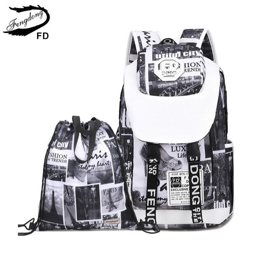 FengDong feminine fashion letters printing laptop backpack women travel bags black and white big school bags