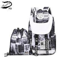 FengDong женской моды письма печати ноутбук рюкзак женщин дорожные сумки черный и белый большой школьные сумки для девочек bookbag
