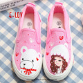 New hand-painted cartoon shoes couples custom hand painted canvas shoes sweet girls shoe children casual shoes