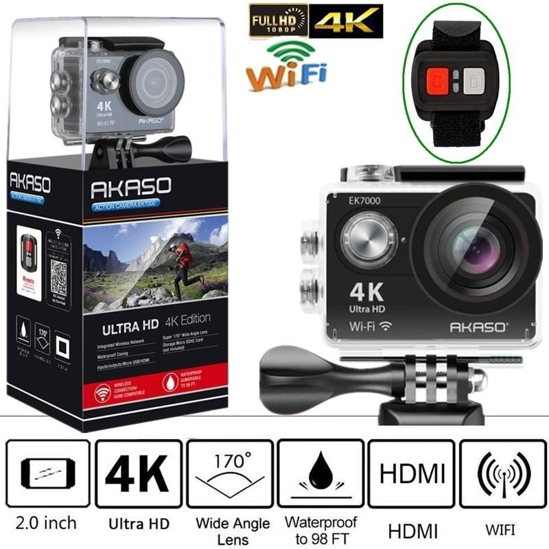 AKASO EK7000 4K WIFI Outdoor action camera Ultra HD Waterproof DV Camcorder 12MP 170 Degree Wide Angle Black f88 action camera black