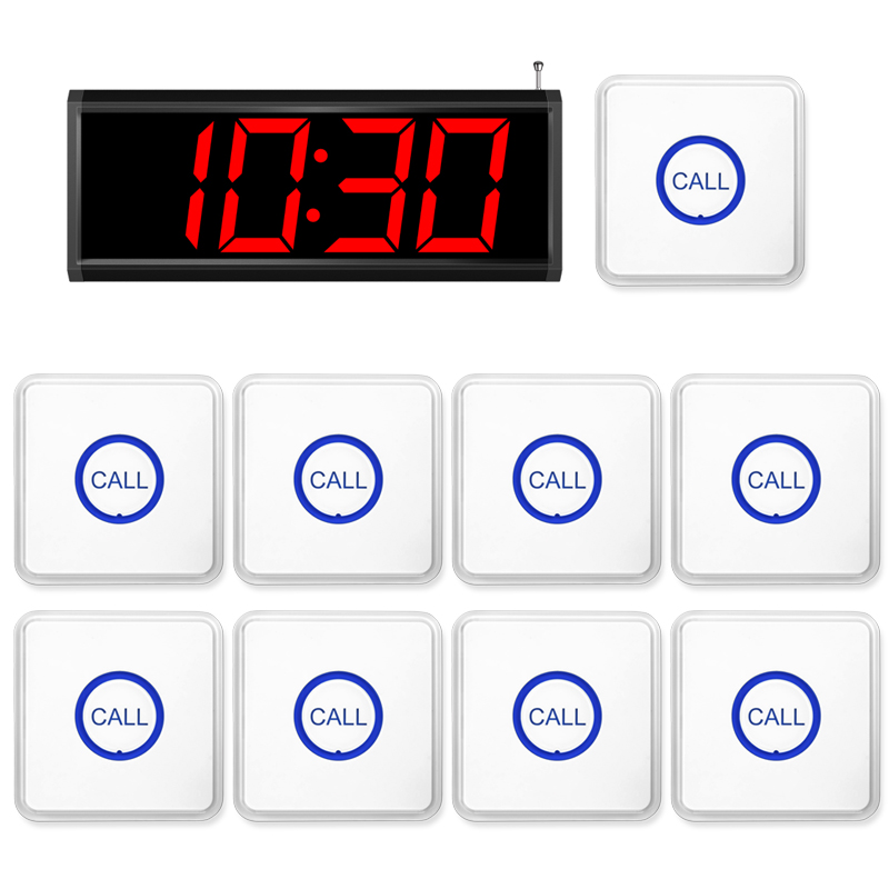 Restaurant Wireless Service Calling System Voice Promont Restaurant Calling Waiter Service Paging System + 9pcs F86 Transmitter 2 receivers 60 buzzers wireless restaurant buzzer caller table call calling button waiter pager system