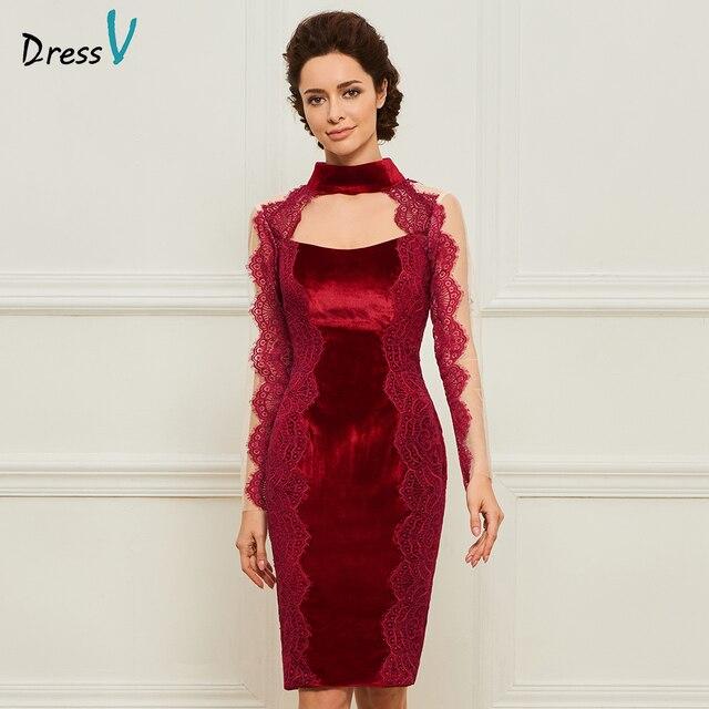Dressv burgundy sheath appliques mother of bride dress long sleeves knee  length zipper up lace long mother evening gown custom 2cec88bb9