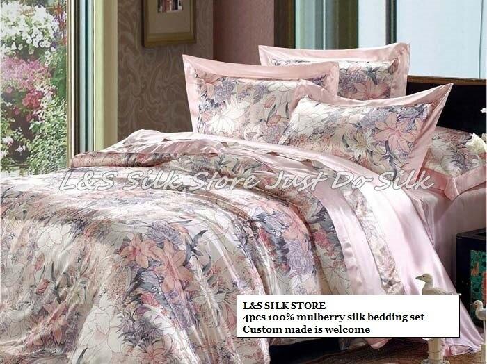 Soie ensemble de literie 4 pcs housse de couette drap plat taie d'oreiller rapide gratuite luxueux mûrier impression pur douce soie/ls2112
