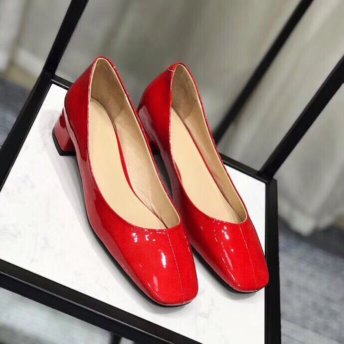Big sales round toe high heel women shoes genuine patent leather slip on shallow pumps four