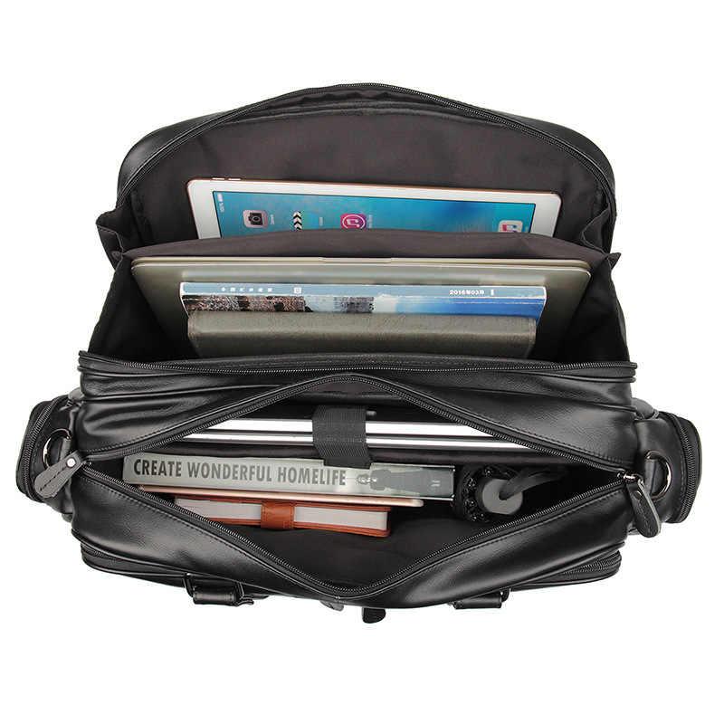 Nesitu Cokelat Hitam Kulit Asli Pria Tas Portofolio Tas Messenger Pria 14 ''15.6'' Laptop Tas Travel Bisnis M7150