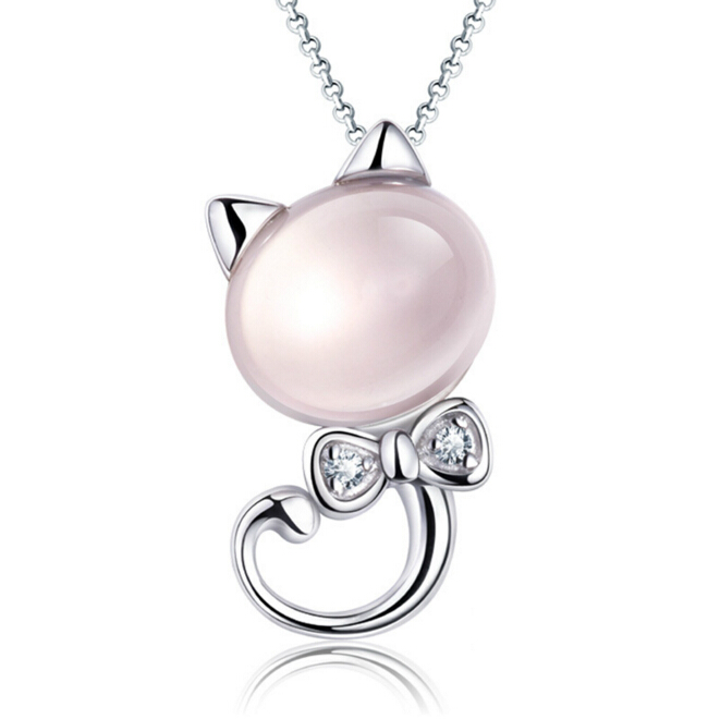 Anenjery 925 Sterling Silver Pink Moon Light Stone Kitty Cat Pendant Neckace For Women Gift 45cm Box Chain collares kolye S-N75