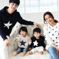 Family Clothing 2015 Autumn Winter Cotton Star Hoodie Mother Daughter Son Father Clothes Family Matching Outfits