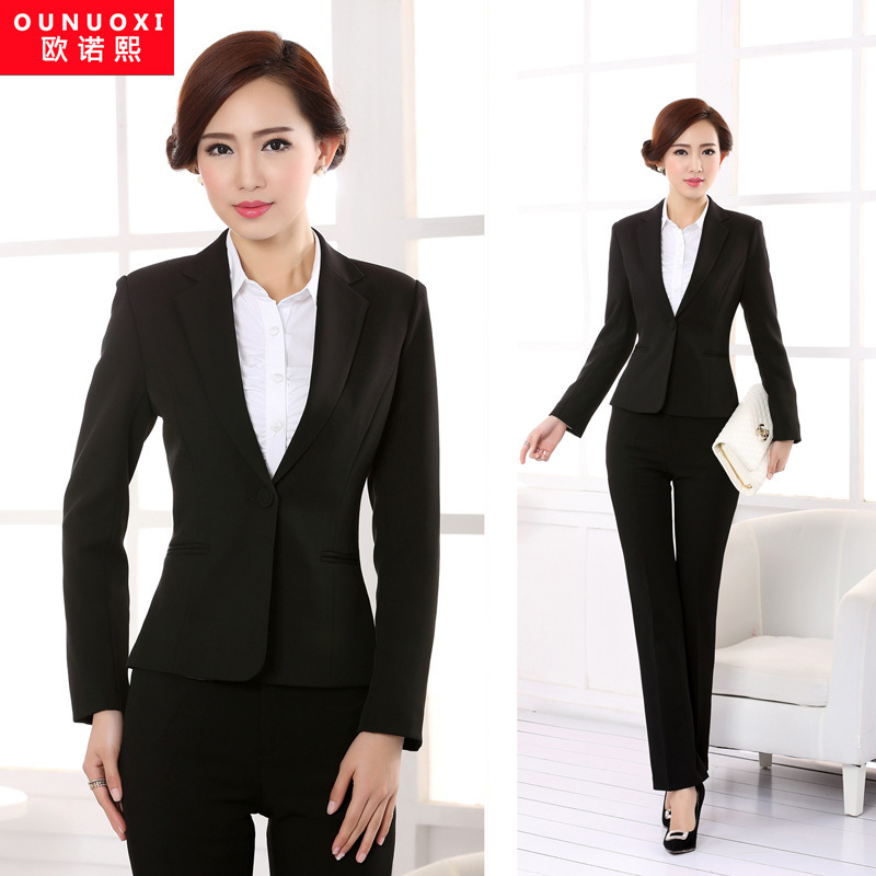 2014 Krean Style Professional Working Suit For Women Formal Blazer With Pants One Botton Black ...