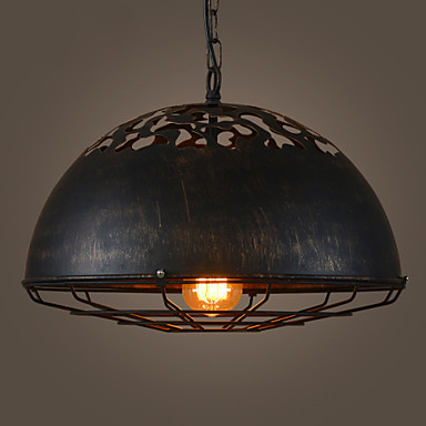 Loft vintage black iron Lid cover shades pendant light retro industry black hanging ligh ...