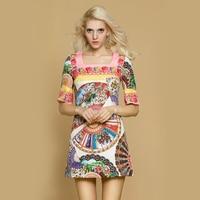 2015 Spring And Summer Fan Print Jacquard Beautiful Short Sleeve Slim One Piece Dress Short Skirt