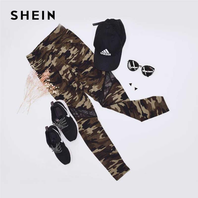 85a08775204b ... SHEIN Multicolor Mesh Insert Camo Print Leggings Sporting Patchwork  Sheer Crop Pants Women Autumn Athleisure Leggings ...