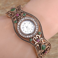 Turkish Jewelry Round Quartz Watches Bracelet Bangle Relojes Mujer Antique Gold Plated Resin Pulseira Masculina Time