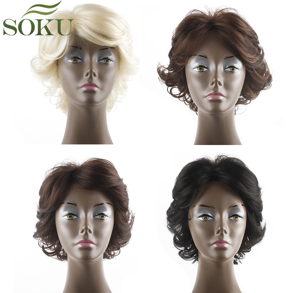SOKU Short Bob Synthetic Wigs With Bangs For Black Women 150% Density Heat Resistant None Lace Africa America Wavy Wigs