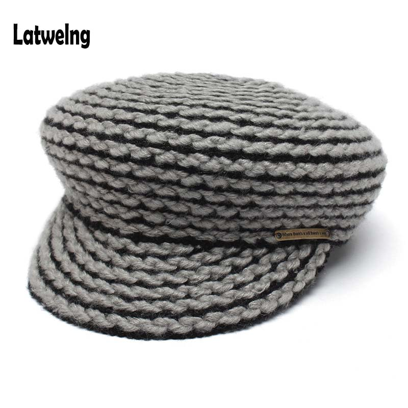 2018 New Handmade Crochet Newboys Tappi Per Le Donne Cappuccio Ottagonale Cappello Europeo E Americano Di Moda Coppia All'ingrosso