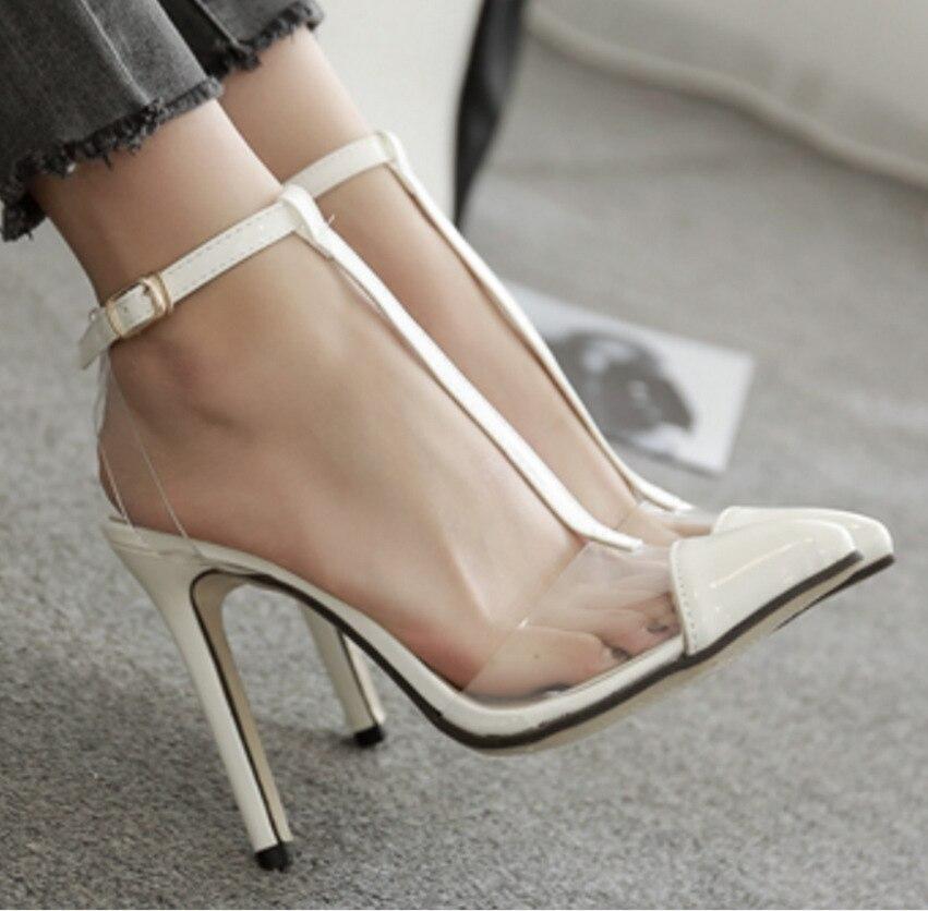 2018 Summer Transparent Sexy High Heels Sandals Ladies Sandals fashion Women Shoes Ankle Strap