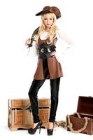 Plus size trajes de halloween traje do pirata couro brow M4633 traje quente