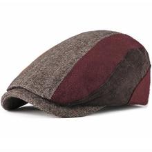 HT1984 2018 New Berets Autumn Winter Hats Men Women Beret Cap Patchwork Corduroy Wool Cabbie Ivy Newsboy Flat Caps for