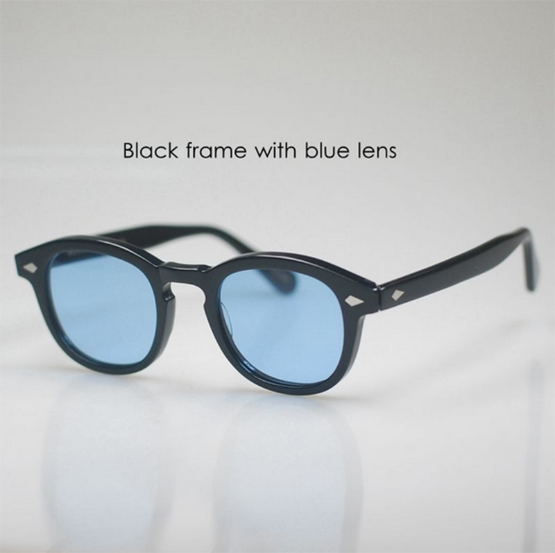 Vintage Fashion 100%UV400 Sunglasses Johnny Depp Eyeglasses Mens Women <font><b>Polarized</b></font> Sun <font><b>Glasses</b></font> <font><b>Black</b></font> <font><b>M</b></font> With Blue Lens High Quality