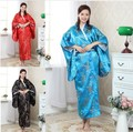 Free Shipping Vintage Japanese Women's Silk Satin Kimono Yukata Evening Dress Flower One Size H0052