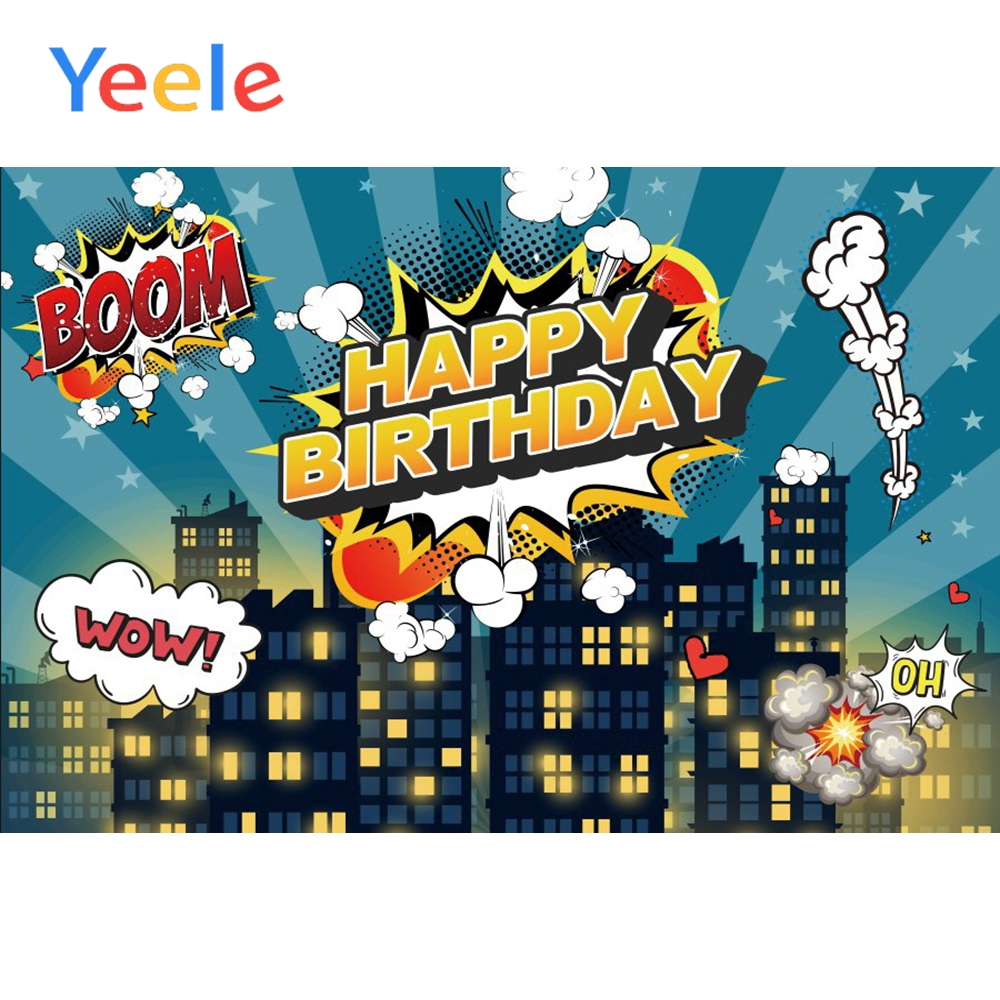 Yeele Happy Birthday Boom Background Posters Seamless Photography Baby Kid Portrait Scene Photographic Studio For Photo Backdrop