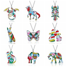Elephant Cat Butterfly Dog Owl Horse Dragon Animal Necklace Acrylic Print Steampunk Cartoon Pendant Necklace Memorial Jewelry(China)