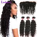 Malaysian Deep Wave With Closure Deep Wave 3 Bundles With Lace Frontal Malaysian Deep Curly Virgin Hair With Frontal Closure
