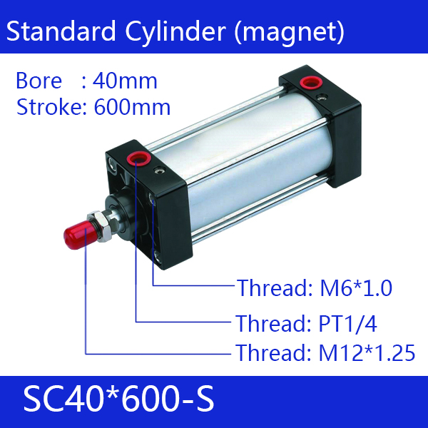 ФОТО SC40*600-S Free shipping Standard air cylinders valve 40mm bore 600mm stroke single rod double acting pneumatic cylinder