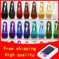 HSIU 100Cm Long Staight Cosplay Wig Heat Resistant Synthetic Hair Anime Party Wigs 23 Color Colourful