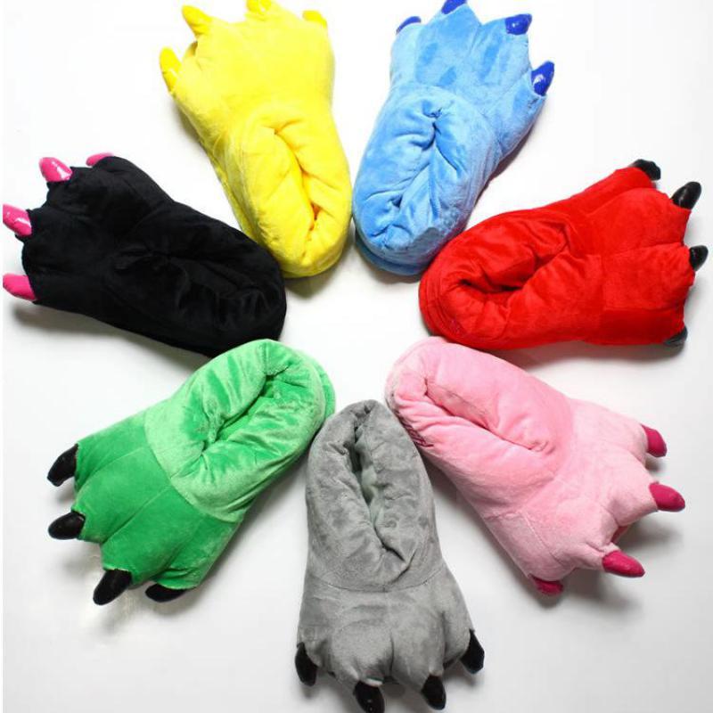 Herrlich 2019 Winter Dinosaurier Pfote Hausschuhe Unisex Cosplay Onesies Schuhe Pyjamas Kostüm Frauen Männer Erwachsene Kinder Cartoon Tier Schuhe Ein BrüLlender Handel Schlaf-oberteile