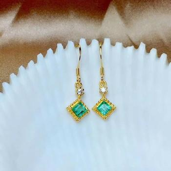 SHILOVEM 925 sterling silver real Natural Emerald stud earrings classic fine Jewelry new wedding 4*4mm me04048811agml
