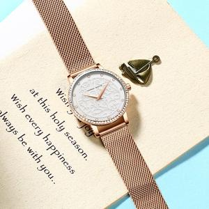 Image 3 - Women Rhinestones Watches Fashion White Flower 3D Engraving Dial Face Japan Movt Waterproof Top Luxury Brand Ladies Watches