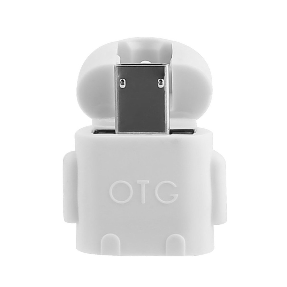 1pc Robot Shape Micro USB 2.0 Converter Host Male to USB Female OTG Adapter For Android Tablet PC Computer Phone Drop Shipping