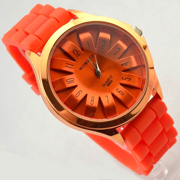Womage Brand Women Dress Watches Fashion Floral Chrysanthemum Dial Lady Silicone