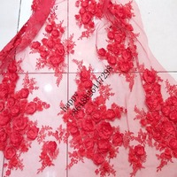 new arrival fashionable african tulle lace colour Red, pink, white, beige, sky blue 3d flower with beads french net lace fabric