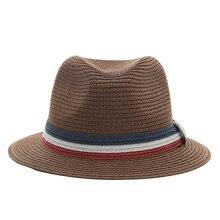 PADEGAO ocasional do Verão chapéus de sol para as mulheres moda jazz chapéus  de palha para o homem praia sol palha chapéu Panamá. 9c47449b2a