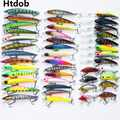 Htdob 43pcs/lot Minnow Fly Fishing Lure Set Hard Bait Jia Lure Wobbler Carp 6 Kinds Fishing Tackle artificial Lures wholesale