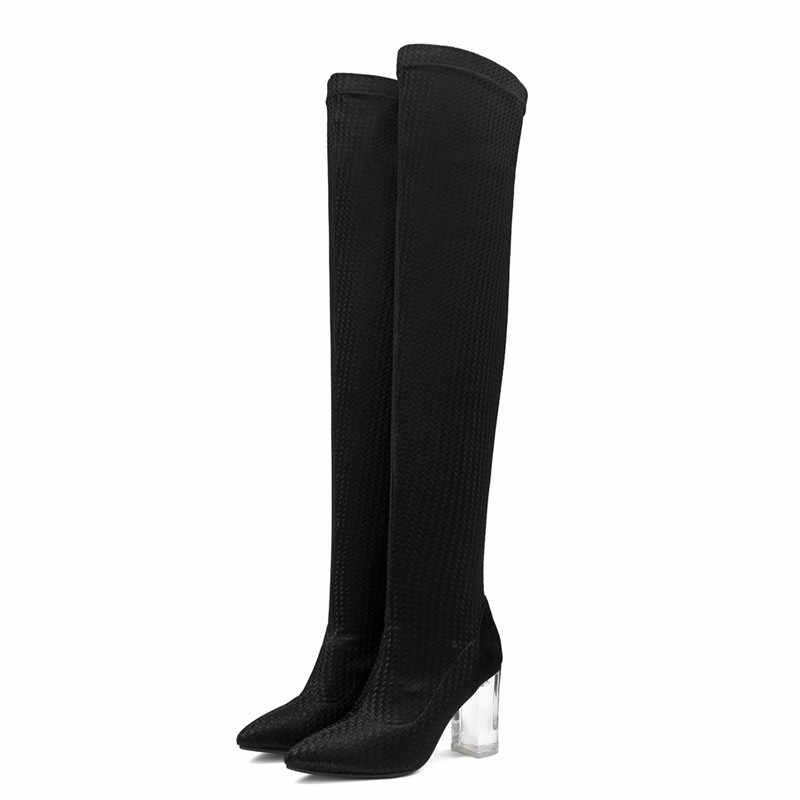 MORAZORA 2019 ขายร้อนเข่ารองเท้าผู้หญิง pointed toe รองเท้าฤดูใบไม้ร่วงรองเท้าส้นสูงคริสตัลรองเท้าผู้หญิงยืดหยุ่นถุงเท้ารองเท้าสีดำ