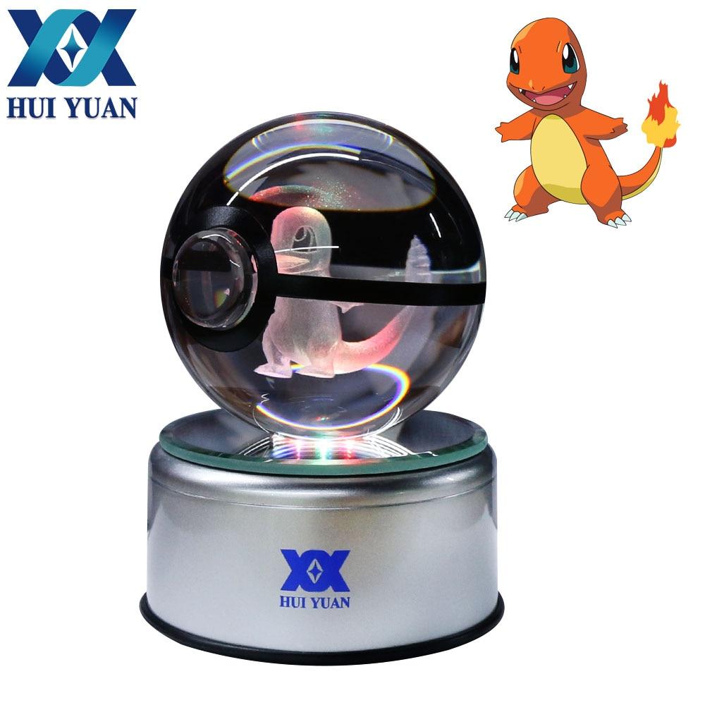 HUI YUAN Charmander Crystal Ball 8CM Rotary Base USB & Battery Powered 3D LED Night Light Desk Table Lamp Decorations